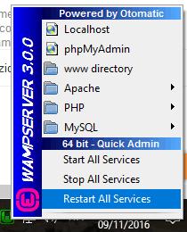 Come riavviare apache, php e mysql con un click