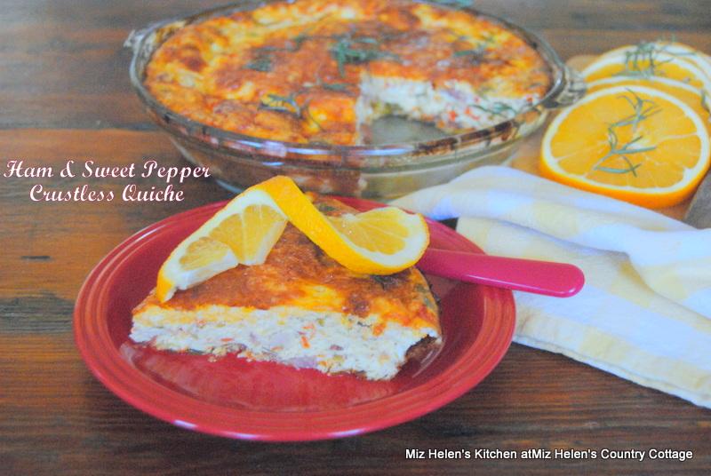 Ham and Sweet Pepper Crustless Quiche at Miz Helen's Country Cottage
