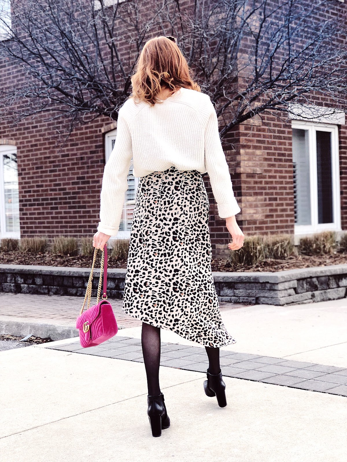 Dynamite Asymmetrical Satin Leopard Skirt, Gucci velvet pink marmont
