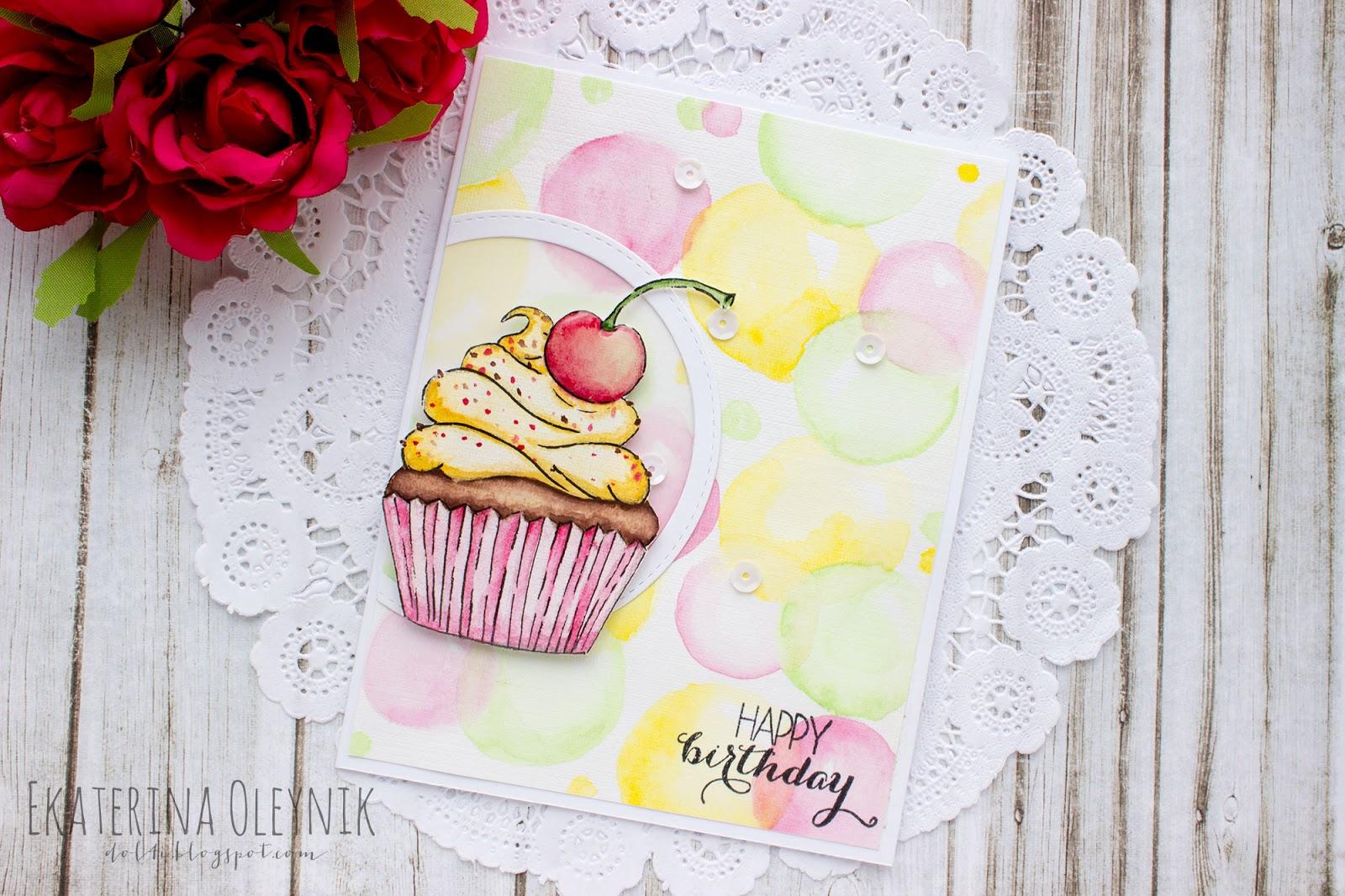 Открытка скрапбукинг пирожное, открытка