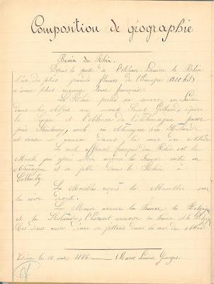 Géographie, cahier de devoirs journaliers, 1886, souvenir ému de la rive du Rhin perdue en 1870 (collection musée)