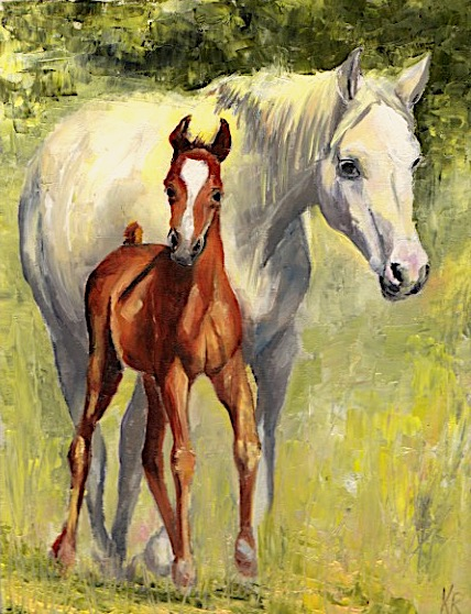 Oil painting of a white mare and her chestnut foal standing in sunlit pasture