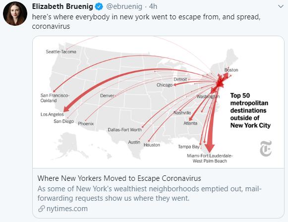 Elizabeth Bruenig (via Twitter): Where New Yorkers Moved to Escape Coronavirus