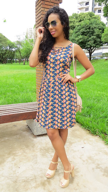 Look do dia Vestido estampado