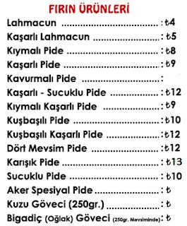 aker et balıkesir menu fiyat