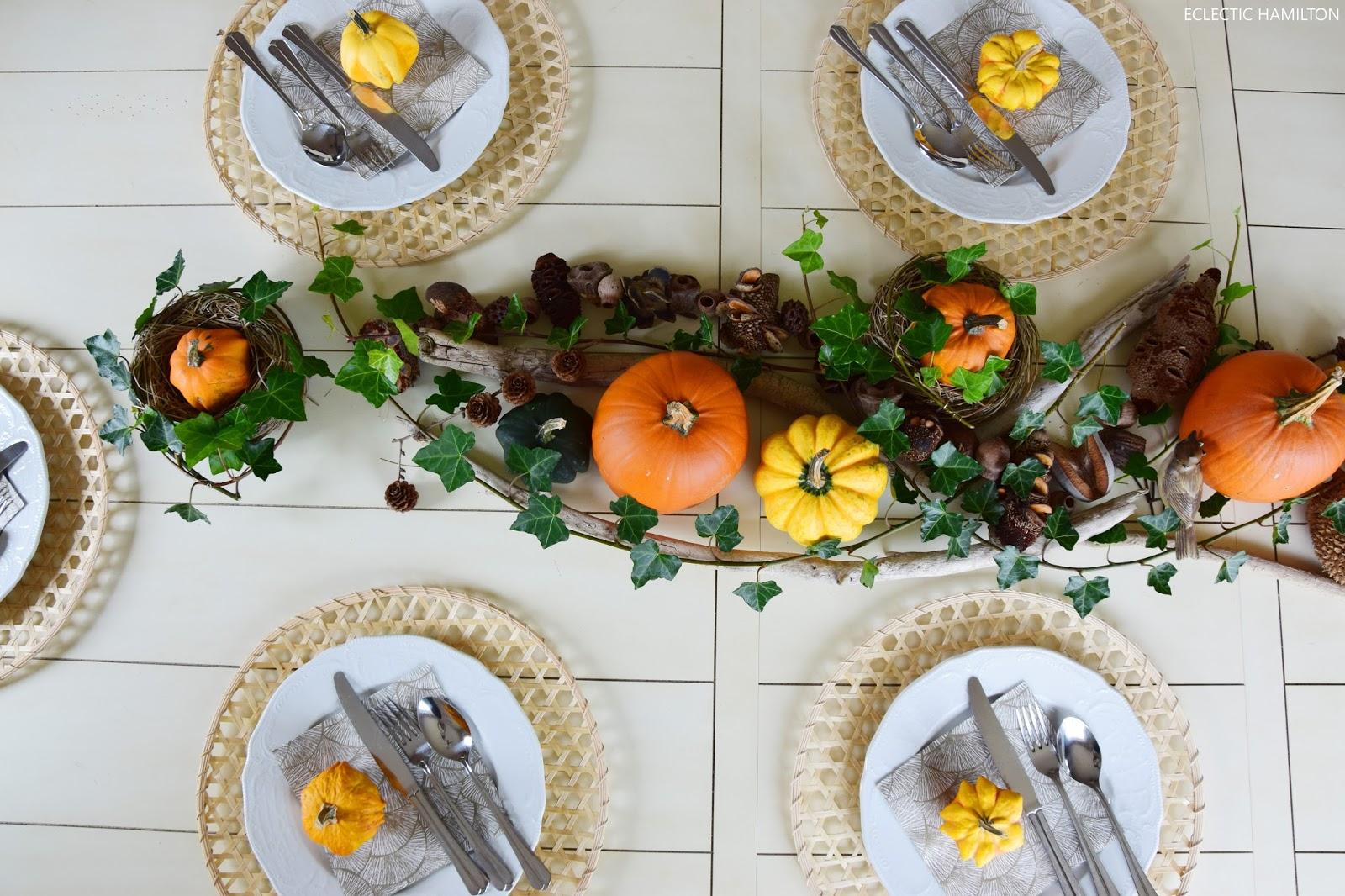 Herbstliche Tischdeko Mit Kurbissen Eclectic Hamilton