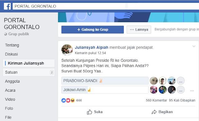 Hasil Polling Medsos Warga Gorontalo: 76,45% Dukung Prabowo-Sandi, Sebelah Ketinggalan