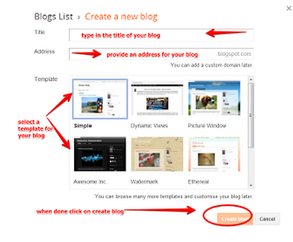 how to create a blog for students
