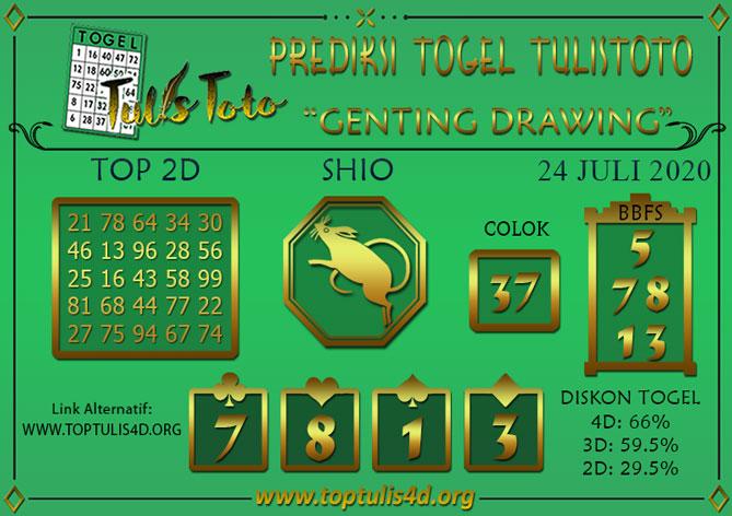 Prediksi Togel GENTING DRAWING TULISTOTO 24 JULI 2020