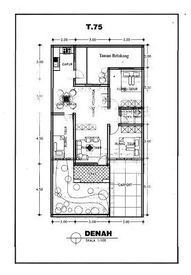 rumah minimalis type 75, 3 kamar tidur, 1 kamar mandi