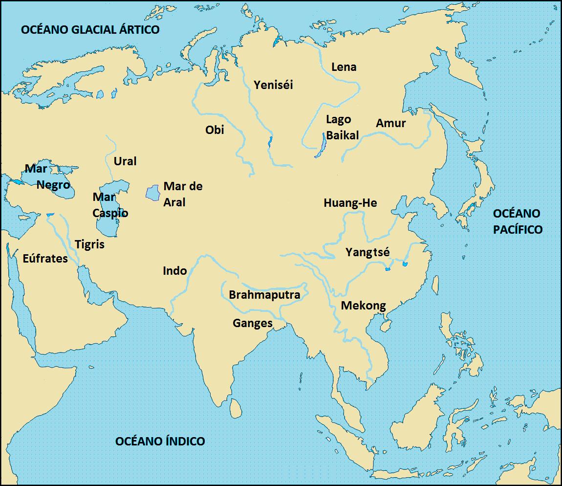 Mapa Mudo De Asia Relieve.El Rincon Del Estudiante El Relieve Y La Hidrografia De La