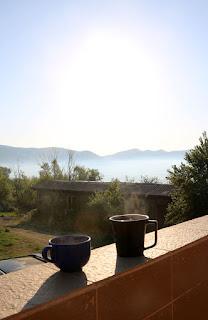 Cuppas on the balcony