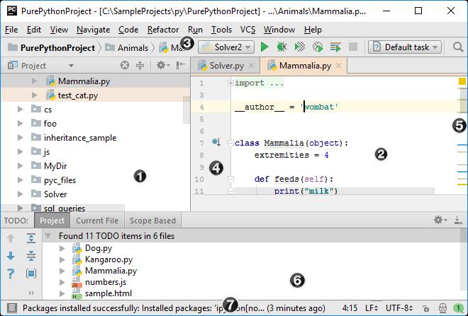 Пользовательский интерфейс PyCharm