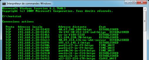 Commande DOS : netstat