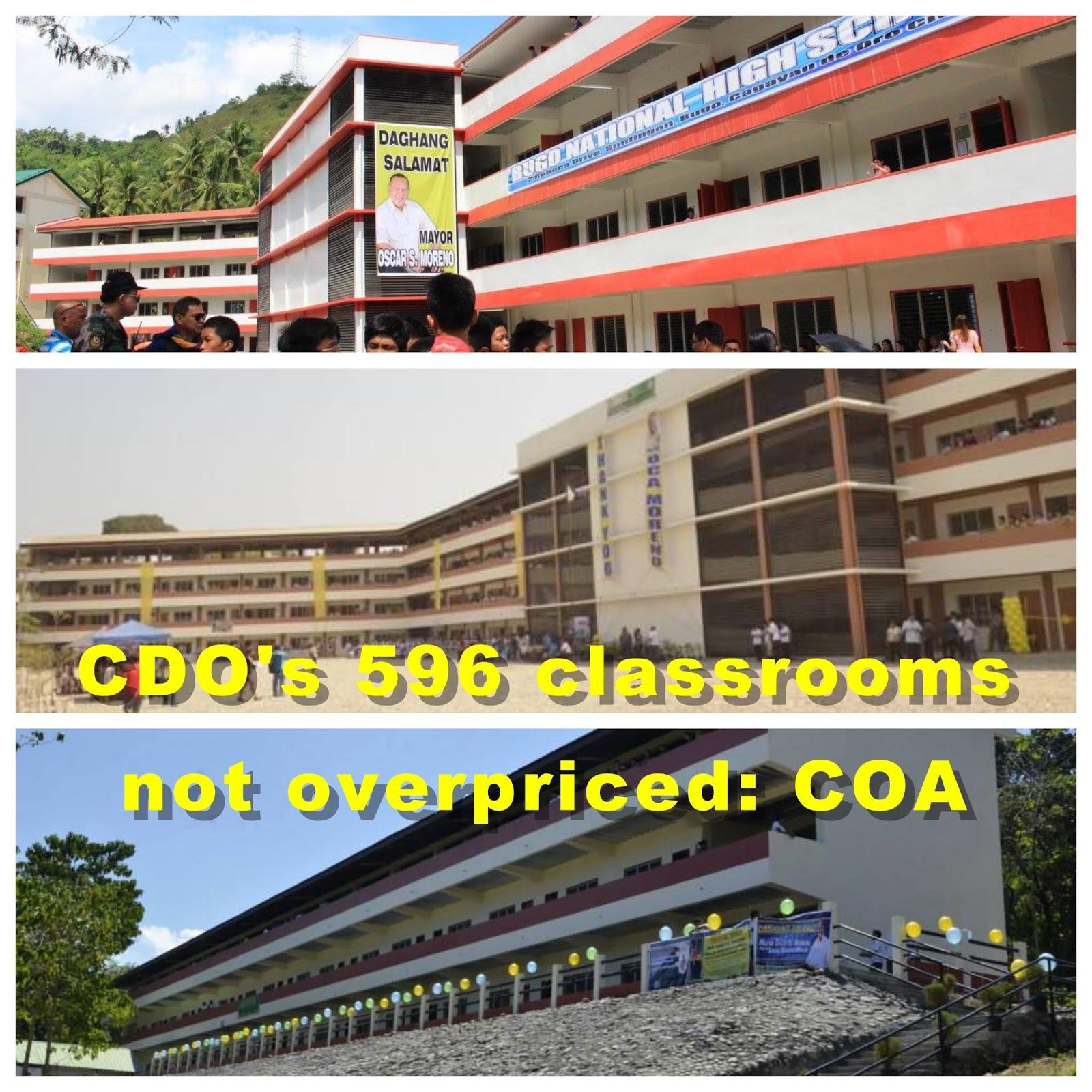 CDO's 596 classrooms not overpriced: COA