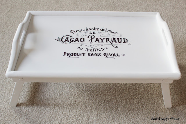 How to paint a wood serving tray with white paint and stencil on this beautiful French sign with a Sharpie. See the easy DIY tutorial!