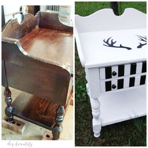 chalky painted nightstand before and after