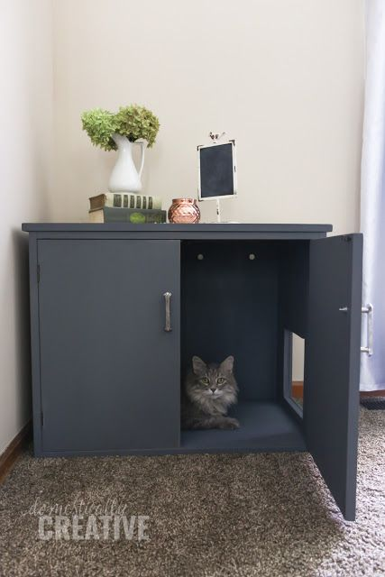 hide cat litter box with this DIY cat litter box cabinet
