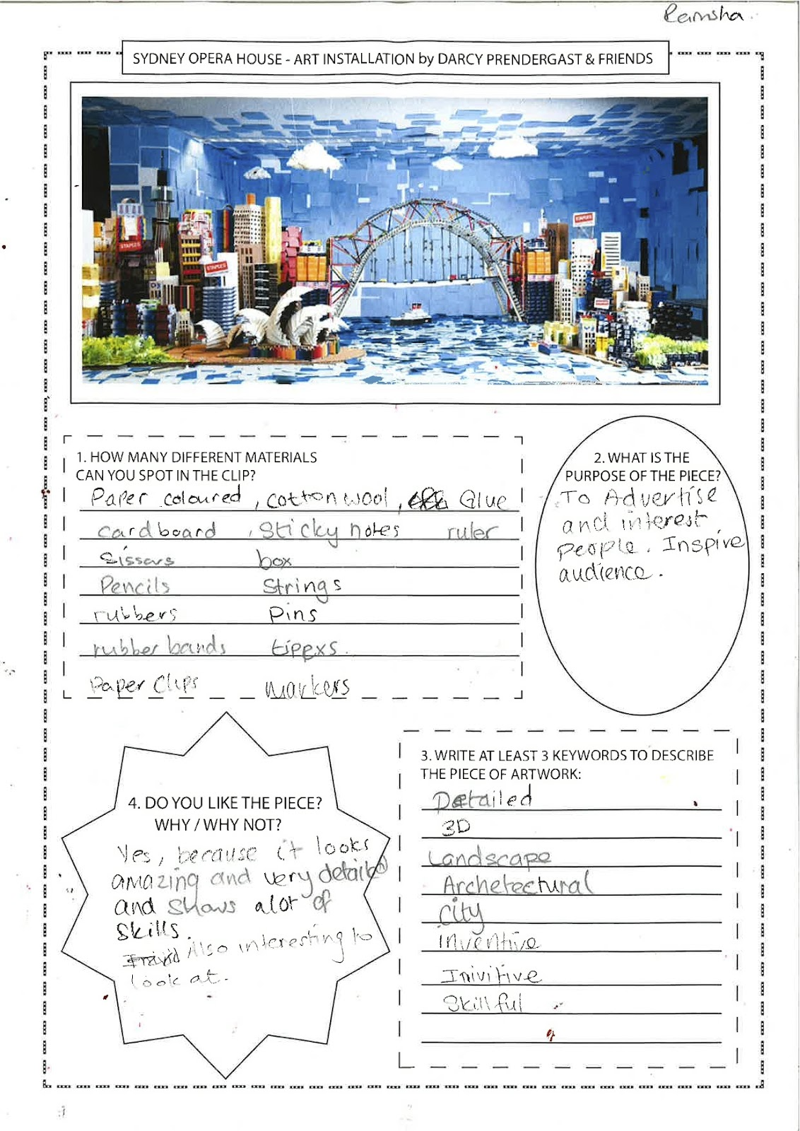Sydney Opera House Worksheet