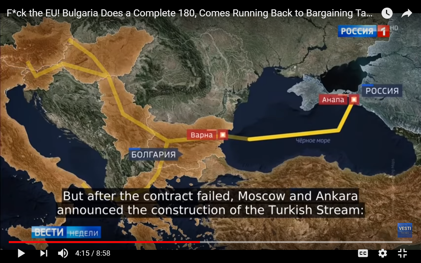 bulgaria would by now have been directly receiving gas from russia via a pipeline laid along the bottom of the black sea