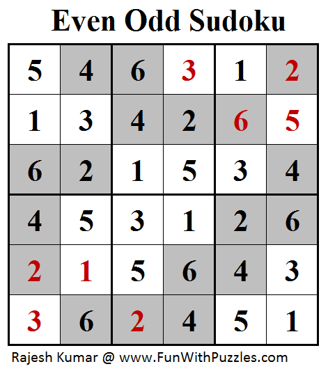 Even Odd Sudoku (Mini Sudoku Series #97) Solution
