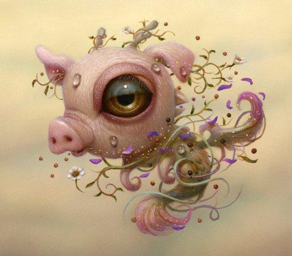 Naoto Hattori arte pinturas surreais oníricas sonhos bizarras criaturas fofas animais