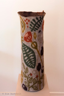 Tall, wet-felted vessel by Kim Buchheit.