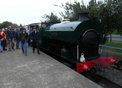 Veteran steam loco Cranford in the platform adjoining Brigg Road, Scunthorpe (right) after completing a brake van tour of the British Steel works.