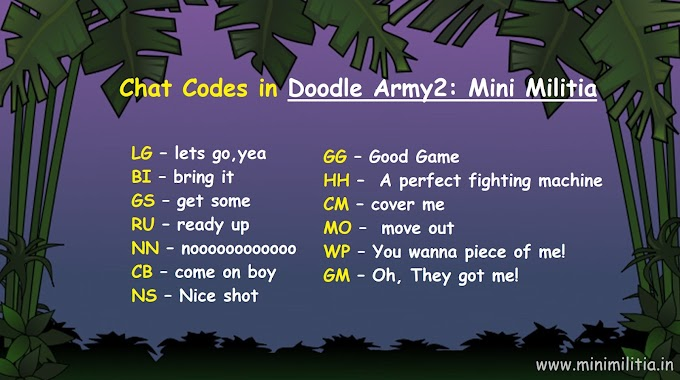Chat Code Commands in Doodle Army2: Mini Militia