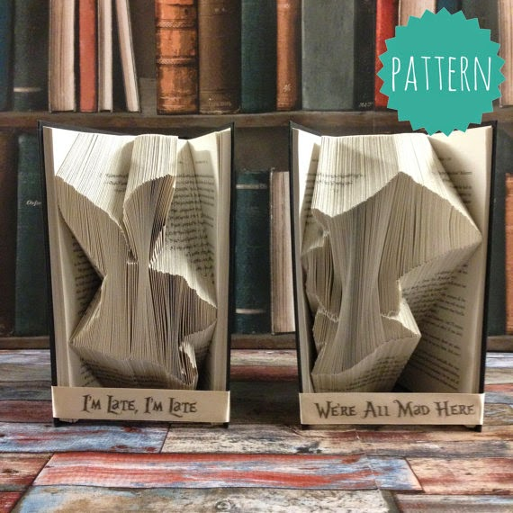 Folded Book Alice in Wonderland Set Pattern & tutorial, gift, decoration  birthday party baby shower table decoration