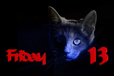 Friday the 13th logo with black cat.