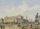 Nevsky Prospekt by Anichkov Bridge by Ludwig Franz Karl Bohnstedt - Cityscape Drawings from Hermitage Museum