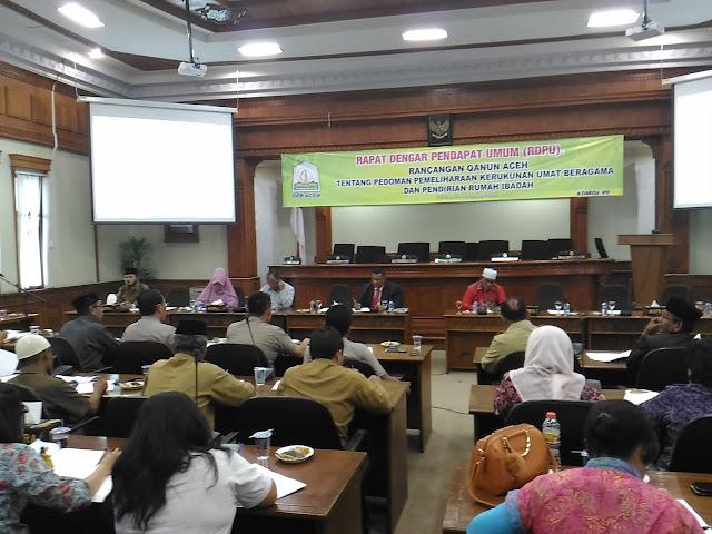 DPR Aceh Gelar RDPU Pendirian Tempat Ibadah. Semua Umat Beragama Bisa Beribadah