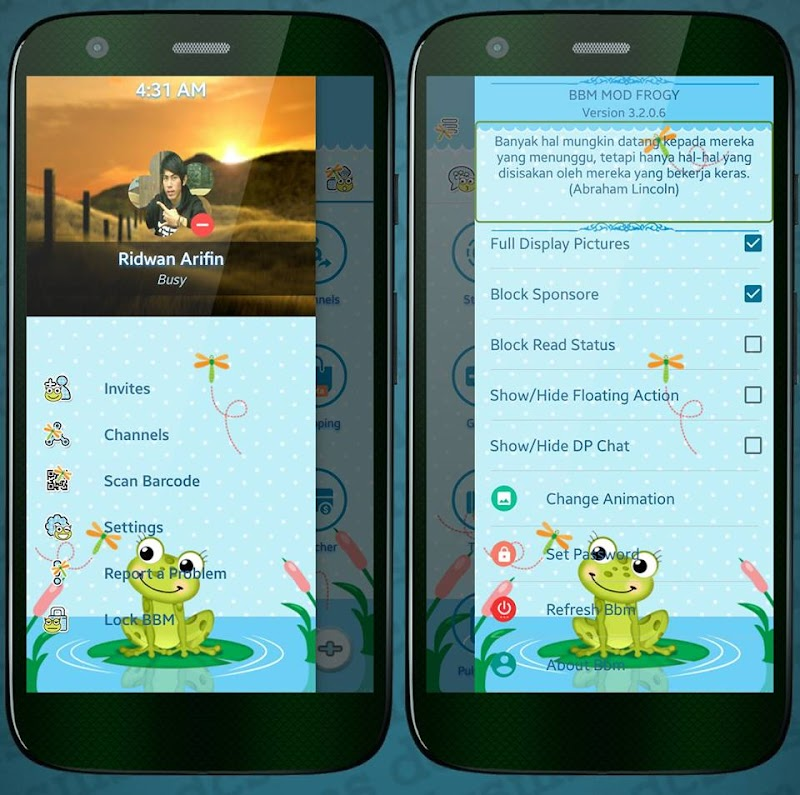 Download BBM Mod Mumuku May Themes Frogy and Girl And Puppy v3.2.0.6 Apk Full Features UpdateTerbaru Gratis