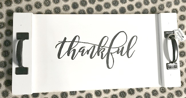 thankful white rustic tray