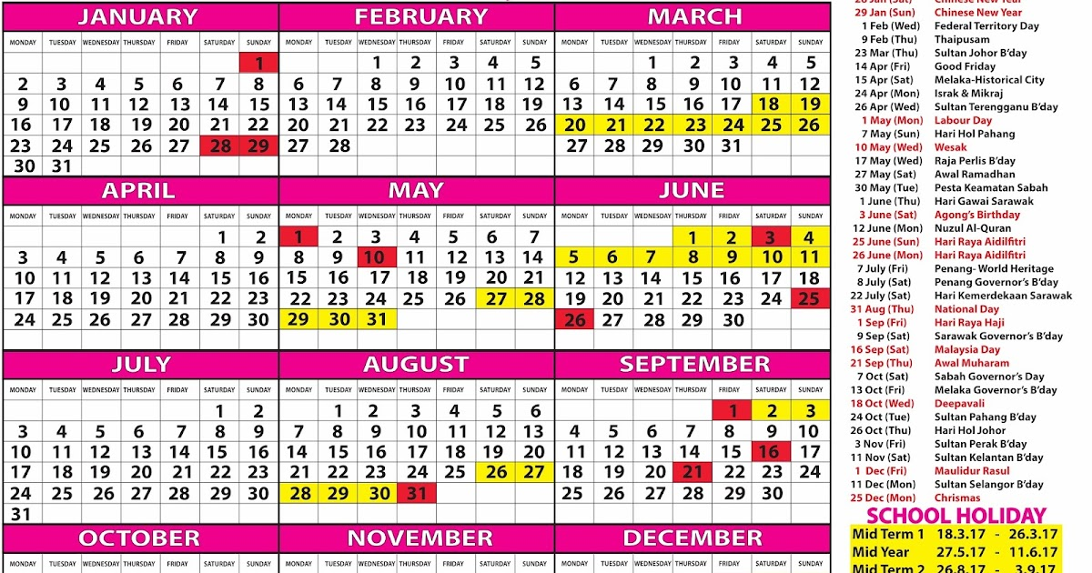 Kalendar Cuti Penggal Sekolah 2016 9
