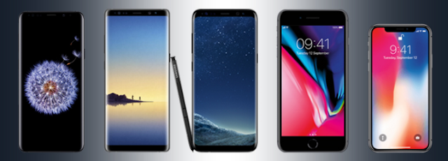 Cost Comparison – Samsung Galaxy S9+, Samsung Galaxy Note 8, Samsung Galaxy 8+, Apple iPhone 8+, Apple iPhone X