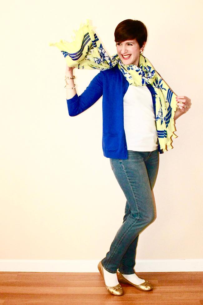 Fashion blogger modeling scarf