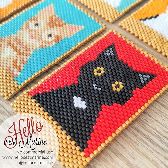 Chat noir, fond rouge, diagramme pour tissage en perles Miyuki delicas 11/0, par Hello c'est Marine