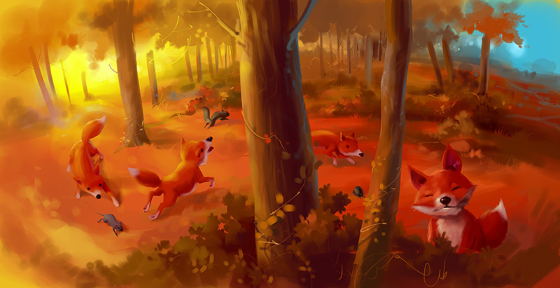 kids picture book illustration fox in spring forest
