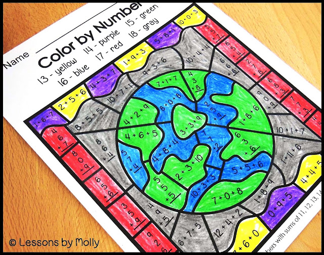 This color by code packet will be a hit with children that love to color.  Plus, they'll use their algebraic abilities to solve the problems!  There are six usable sheets.  Each page targets an addition or subtraction skill.  These include subtracting within 12, subtracting within 20, adding with sums up to 10, adding teen numbers or adding within 20, and determining the sum when three addends are given.  This collection of color by code has a space theme!  Great for summer take-home packets!