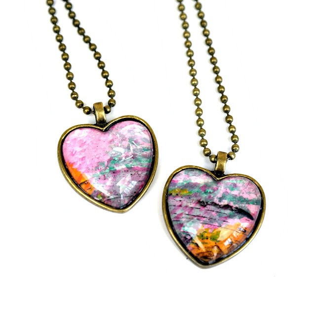 DIY Heart-Shaped Izink Monoprint Pendants Tutorial by Dana Tatar