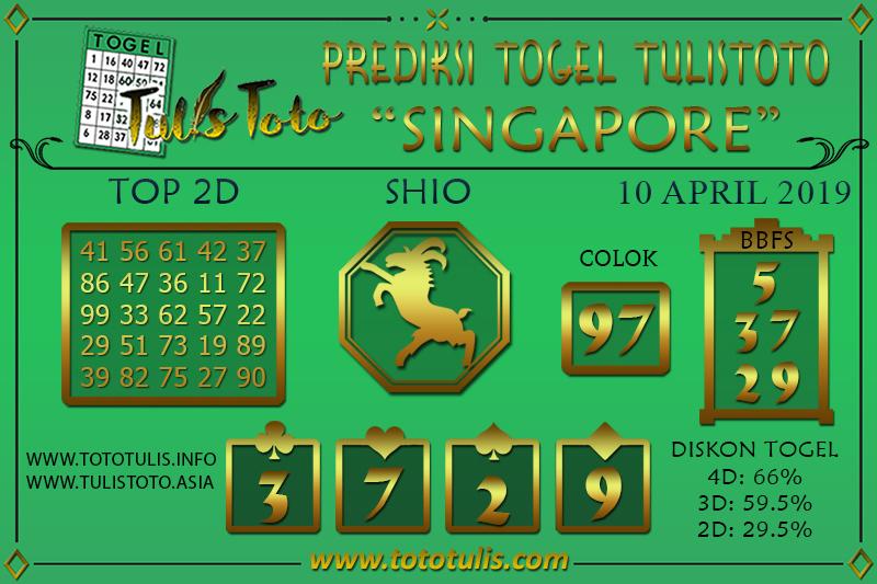 Prediksi Togel SINGAPORE TULISTOTO 10 APRIL 2019