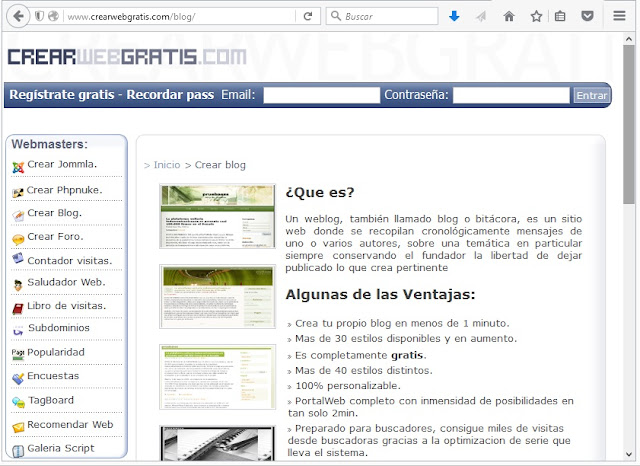 Crearwebgratis, Sitios Para Crear un Blog Gratuito