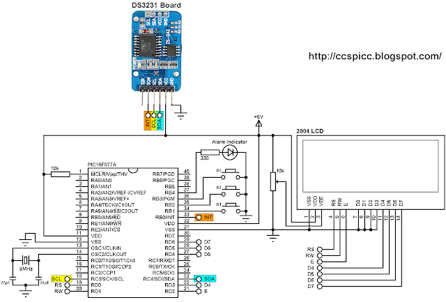 Real time clock with 2 alarms and temperature sensing using PIC16F877A and DS3231 circuit
