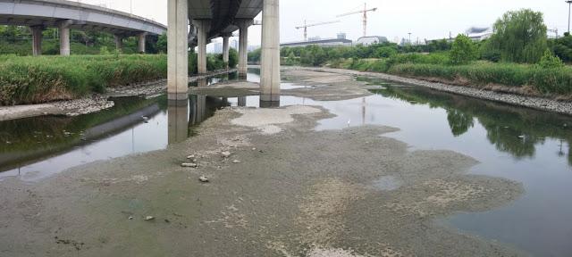 Arroyo Cheonggyecheon de Seúl con muy poca agua