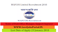 WAPCOS Limited Recruitment 2018 – 16 Office Manager, Support Engineer