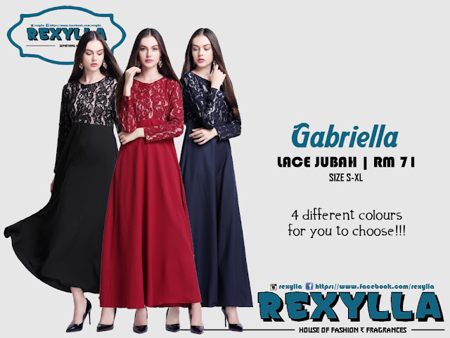 rexylla, lace jubah, gabriella collection