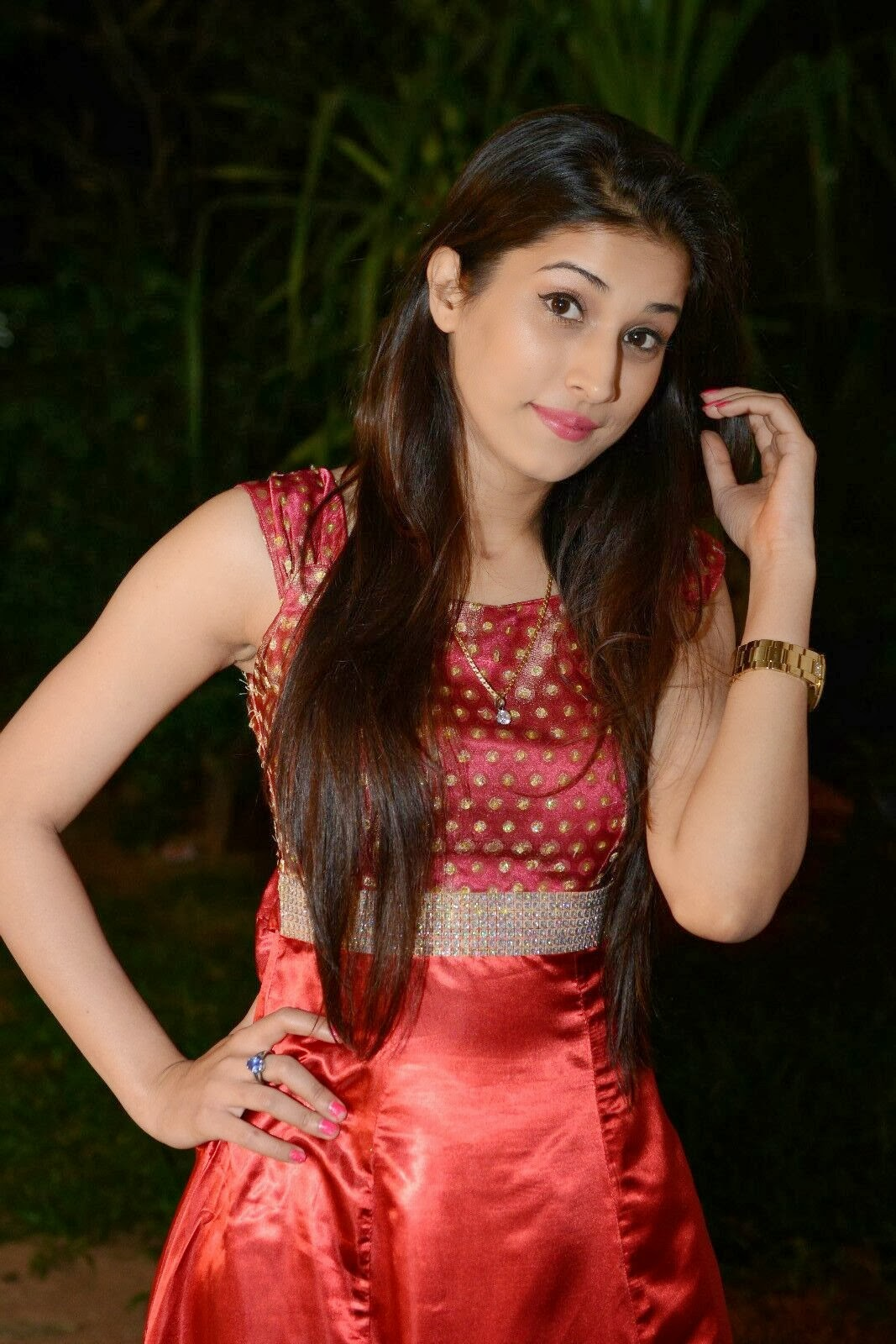 Sabha photo gallery in red dress at bunny n cherry audio launch function