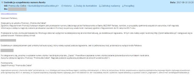 Mail o przyznaniu premii dla uczestników promocji Premia dla Ciebie - Konto Optymalne w BGŻ BNP Paribas